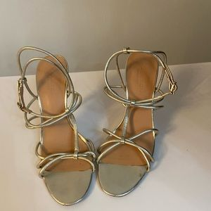 Halston Heritage gold strappy sandals, size 8